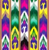 Ikat Oostelijke stof Aziatisch patroon Traditionele nationale kleren stock illustratie