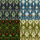 Ikat pattern four colours set Stock Photos