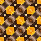 Ikat satte en klocka på guling för Taupe för papper för inpackning för tryck för Dots Seamless Pattern Abstract Geometric bakgrun Arkivbilder