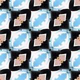 Ikat satte en klocka på papper för inpackning för tryck för Dots Seamless Pattern Abstract Geometric bakgrundstyg bruna Gray Desi Royaltyfri Bild