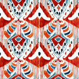 Ikat seamless bohemian ethnic pattern in watercolour style. vector illustration