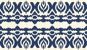 Ikat seamless border print. Vector tie dye shibori pattern with stripes and chevron. Ink textured japanese background. Ethnic fabric vector. Bohemian fashion vector illustration