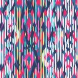 Ikat Seamless Pattern Design for Fabric.  Stock Photo