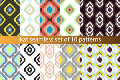 Ikat vector seamless pattern set. Abstract Stock Photo