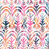 Ikat watercolor seamless pattern. Floral vibrant watercolour  . Royalty Free Stock Photography