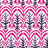 Ikat watercolor seamless pattern. Floral vibrant watercolour royalty free stock photography