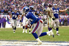 Ike Hilliard. Wide Receiver Ike Hillard of the New York Giants scores a touchdown from a pass from New York Giants Quarterback Kerry Collins at the NFC Royalty Free Stock Photo
