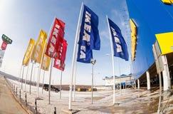 IKEA flaggor mot himmel Fotografering för Bildbyråer