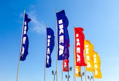IKEA flags against blue sky Royalty Free Stock Photo