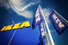 IKEA flags against sky at the IKEA Samara Store. IKEA is the wor Stock Images