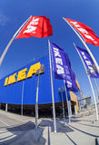 IKEA flags against sky at the IKEA Samara Store Stock Image