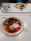 Ikea food court meal. Ikea, meatballs, swedish, lingonberry, potatoes, fast royalty free stock image