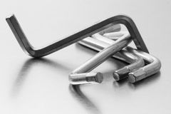 Ikea Hex Keys. Collection of Ikea hex keys brushed-silver ground royalty free stock photography