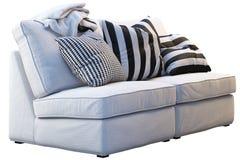 Ikea kivik sofa with plaids and pillows royalty free stock photos