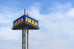 IKEA logo on blue sky Royalty Free Stock Image