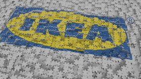 IKEA logo composing with puzzle pieces, editorial 3D rendering. Company logo made of puzzle pieces, conceptual editorial 3D royalty free illustration