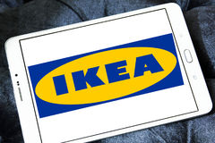 Ikea logo. Logo of the international chain of furniture stores ikea on samsung tablet Stock Photography