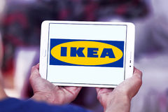 Ikea logo. Logo of the international chain of furniture stores ikea on samsung tablet in hands Royalty Free Stock Photo