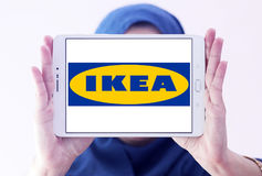 Ikea logo. Logo of the international chain of furniture stores ikea on samsung tablet holded by arab muslim woman Royalty Free Stock Photography