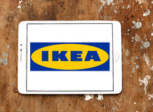 Ikea logo. Logo of the international chain of furniture stores  ikea on samsung tablet on wooden background Royalty Free Stock Photography