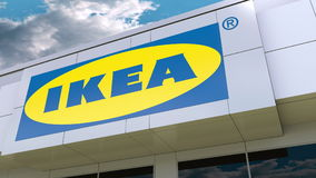 Ikea logo on the modern building facade. Editorial 3D rendering. Ikea logo on the modern building facade. Editorial 3D vector illustration