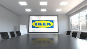 Ikea logo on the screen in a meeting room. Editorial 3D rendering. Ikea logo on the screen in a meeting room. Editorial 3D stock illustration