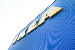 Ikea logo in Thailand. BANGNA,THAILAND - AUG 15 :The Ikea logo in Thailand on August 15,2015. IKEA is the world's largest furniture retailer and sells ready to Royalty Free Stock Photo