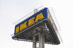 Ikea logo in Thailand. BANGNA,THAILAND - AUG 15 :The Ikea logo in Thailand on August 15,2015. IKEA is the world's largest furniture retailer and sells ready to Royalty Free Stock Image