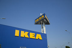 The Ikea logo in Thailand. BANGNA,THAILAND - OCT 25 :The Ikea logo in Thailand on Oct 25,2015. IKEA is the world`s largest furniture retailer and sells ready to Stock Images