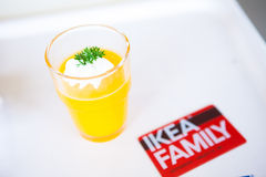 IKEA membership card and beverages. IKEA (IKEA) is a Swedish furniture store. Is a multinational private home supplies retail business. IKEA has stores in many Stock Photo