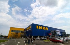 IKEA opening second store in Romania. Bucharest, Romania - June 24, 2019: The IKEA building and its surroundings are seen in the opening day of the IKEA Pallady stock image