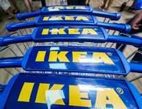 IKEA opening second store in Romania. Bucharest, Romania - June 24, 2019: Close-up with shopping carts bearing the IKEA logo taken in the opening day of the IKEA stock photos