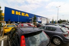 IKEA opening second store in Romania. Bucharest, Romania - June 24, 2019: The IKEA building and the parking next to it are seen in the opening day of the IKEA royalty free stock images
