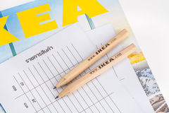 IKEA pencil and shopping list Royalty Free Stock Image