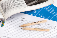 IKEA pencil and shopping list Stock Photo