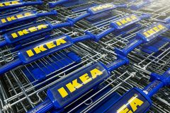 Ikea shopping carts in a row stock image
