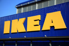 Ikea Sign. London, UK – November 19, 2011:  Ikea logo advertising sign outside its retail supermarket stores in Brent Park Wembley Stock Photography