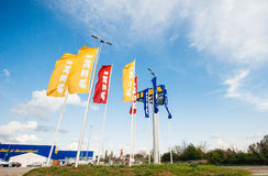 IKEA Store flags near its entrance. Stock Image