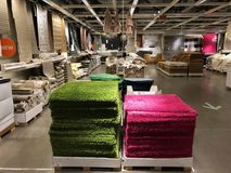 Ikea store. Ikea is retailer store of fine home furnishings, such as sofa`s, love seats and kitchen sets. The Swedish company is the world`s largest furniture stock photos