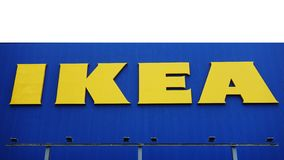 IKEA store. IKEA is a multinational group of companies that designs, sells ready-to-assemble furniture. Tokyo, OSAKA- October 28, 2017: The IKEA logo in Japan stock images