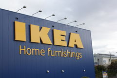 Ikea storefront. Ikea logo on store exterior wall Stock Photo