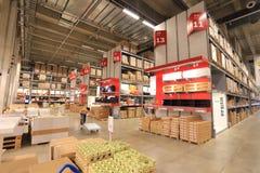 Ikea warehouse. Beijing ikea indoor warehouse shelves Royalty Free Stock Photo