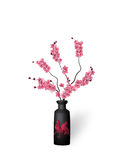 Ikebana. Composition. Figure branches Sakura flower. On a white background with shadow. illustration Stock Photos