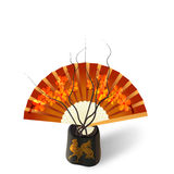 Ikebana. Composition. Figure Sakura on the fan. Isolated on white photo-realistic. Vector illustration Royalty Free Stock Image