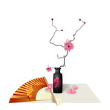 Ikebana. Composition. Figure Sakura flower. Fan. Isolated on white background with shadow. illustration. Ikebana. Composition. Figure Sakura flower. Fan Royalty Free Stock Photos