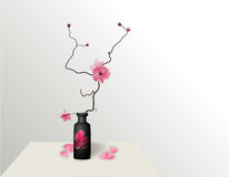 Ikebana. Composition. Figure Sakura flower. On a gradient background with a shadow. illustration Royalty Free Stock Image