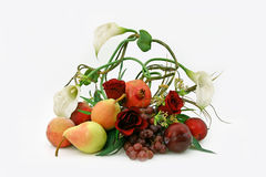 Ikebana from fruit. Floristic composition from flowers and fruit Royalty Free Stock Images