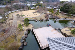 Ikeda shiroatokoen. Castle and pond Stock Photos