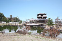 Ikeda shiroatokoen. Castle and pond Stock Image