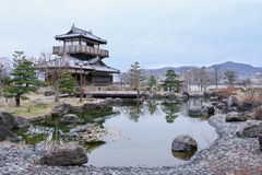 Ikeda shiroatokoen. Castle and pond Royalty Free Stock Photo
